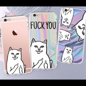 Middle Finger Cat Soft TPU Phone Case For iPhone